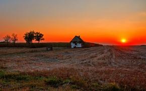 Картинка house, fireball, twilight, field, sunset, sun, dusk, countryside, farm, farmland