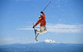 Картинка небо, прыжок, фристайл, Лыжи