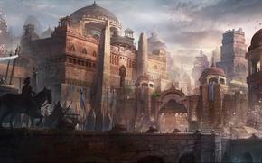 Картинка мост, город, люди, замок, ворота, арт, всадник, шествие