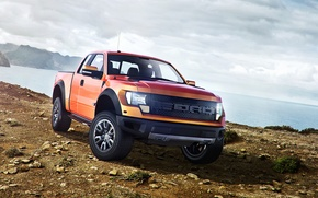 Картинка Ford, Sky, Raptor, Mountains, Pickup, Sea, F150