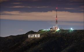Обои Hollywood, sign, night