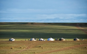 Картинка степь, линия горизонта, Монголия