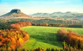 Обои осень, листья, деревья, пейзаж, природа, холмы, желтые, Германия, оранжевые, Саксонская Швейцария, Elbsandsteingebirge, Sächsische Schweiz, Эльбские ...