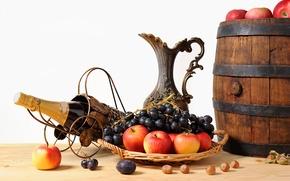 Обои яблоки, виноград, кувшин, фрукты, орехи, шампанское, корзинка, бочонок
