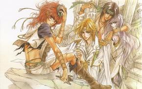 Картинка рыжий, ступени, кинжал, парни, плащ, манга, друзья, длинные волосы, art, погоны, manga, Mamiya Oki, Ashray, …