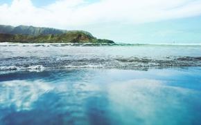 Картинка Небо, Вода, Облака, Океан, Пляж, Трава, Волны, Деревья, Остров, Горизонт