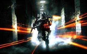 Картинка метро, война, коридор, выстрелы, Battlefield 3, морпехи, electronic arts, m4a1