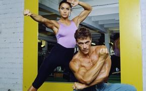 Обои актриса, актер, Paris, France, Жан-Клод Ван Дамм, Jean-Claude Van Damme, Martial arts actor, Глэдис Португез, ...