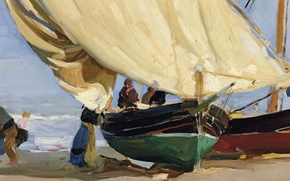 Картинка картина, парус, Хоакин Соролья, Рыбацкая Лодка на Отмели