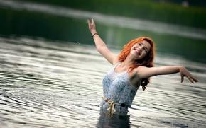 Картинка смех, рыжеволосая, в воде, Ира
