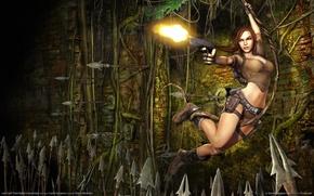 Картинка пистолет, оружие, растения, веревка, стрельба, ловушка, руины, легенда, копья, legend, lara, гробниц, расхитительница, крофт, croft, …