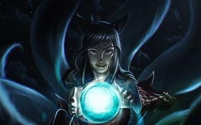 Картинка девушка, лиса, lol, League of Legends, Ahri, Nine-Tailed Fox, orb