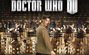 Картинка взгляд, фантастика, логотип, актер, мужчина, Doctor Who, Доктор Кто, Мэтт Смит, Matt Smith, Daleks, Далеки, …