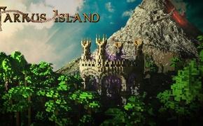 Картинка лес, небо, облака, замок, гора, вулкан, лава, Minecraft, Tarcus Island