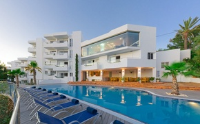 Картинка пальмы, вилла, бассейн, отель