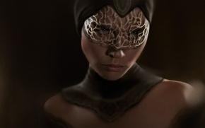 Картинка девушка, лицо, маска, ажурная