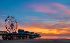 Картинка пляж, океан, рассвет, пирс, колесо обозрения, парк развлечений