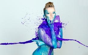 Обои девушка, краска, цвет, всплеск, Color Splash