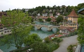 Картинка небо, деревья, мост, река, дома, Switzerland, Берн, Bern