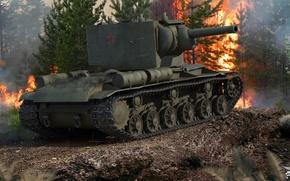 Картинка огонь, советский, тяжелый, дым, World of Tanks, мощь, танк, броня, КВ-2, лес, пожар