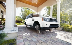 Картинка белый, white, Land Rover, Range Rover, болты, на кирпичах, рендж ровер, WHEELS, лэнд ровер, ADV …