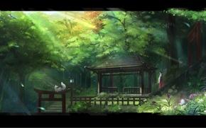 Картинка свет, цветы, ворота, Лес, лестница, девочка, лис, жрица, беседка