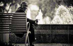 Картинка скамейка, часы, очки, сигарета, мужчина, Charles Siritho