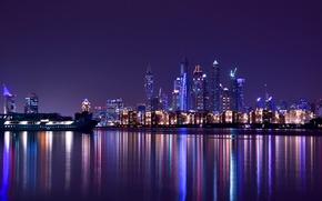Обои City, Light, Purple, Dubai, Night, Emirates, Travel, Scape