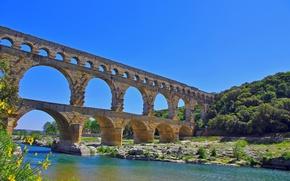 Картинка мост, природа, река, акведук