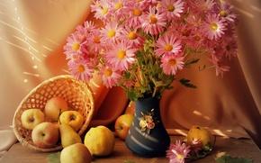 Картинка цветы, корзина, яблоки, Ваза, фрукты