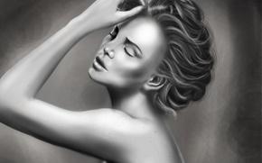 Картинка девушка, лицо, волосы, черно-белая, рука, арт, прическа, живопись, закрытые глаза