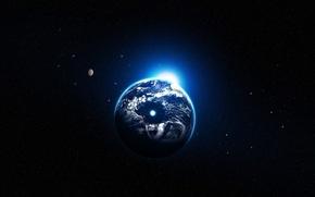 Обои земля, планета, звезды, блик света