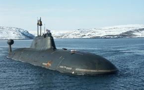 """Картинка вода, снег, подводная лодка, андреевский флаг, К-154""""тигр"""""""
