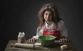 Картинка девушка, масло, мука, скалка, пекарь, The Baker