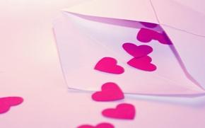 Обои признание, макро, macro, письмо, сердце, hearts, сердечки, любовь, день влюбленных, конверт, valentine's day, letter, сердца, ...