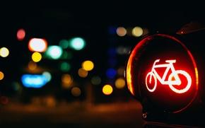 Картинка дорога, макро, красный, велосипед, огни, фон, обои, размытие, wallpaper, широкоформатные, background, macro, дорожный знак, боке, …