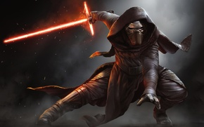 Обои Action, Sci-Fi, The, Kylo Ren, Force, Darkness, Sword, StarWars, Wallpaper, Fantasy, Laser, Walt Disney Pictures, ...
