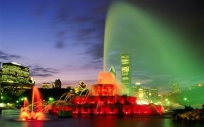 Картинка ночь, фонтан, лазерное шоу