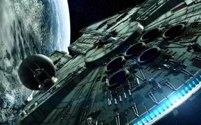 Картинка космос, фантастика, планета, звёзды, космический корабль