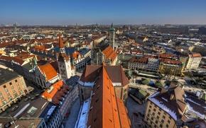 Картинка здания, Германия, Мюнхен, крыши, панорама, Germany, Munich