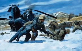 Обои самолет, американцы, сша, The Battle of Takur Ghar by Keith Rocco, Paktia Province, 2002 -- ...