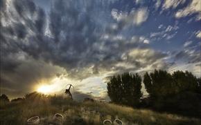 Картинка небо, закат, стрелок