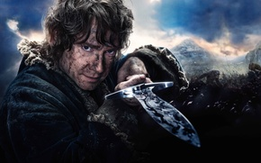 Обои Warner Bros. Pictures, Baggins, The, Army, Castle, Man, Clouds, Film, Sky, Sword, Battle, The Hobbit ...