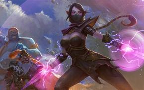 Обои девушка, арт, Dota 2, Sniper, Ogre Magi, Lanaya, Templar Assassin