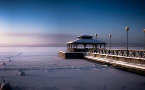Картинка зима, снег, озеро, причал