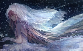 Обои вода, девушка, снег, снежинки, аниме, арт, фата, mahou shoujo madoka magica, kaname madoka, девочка-волшебница мадока, ...