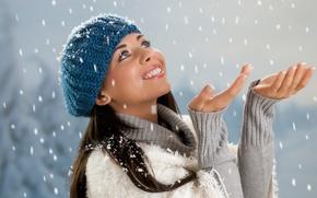 Обои красота, snow, снег, зима, люди, шапка, hat, beauty, people, girl, Девушка, winter