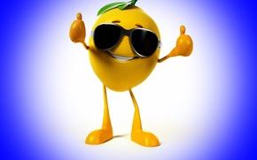 Картинка улыбка, лимон, очки, класс, lemon, синий фон, smile, blue background, glasses, class