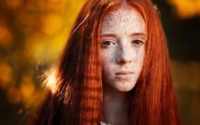 Картинка осень, лето, девушка, солнце, желтый, настроение, веснушки, рыжая