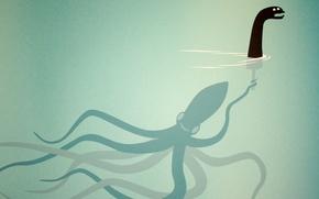 Обои кукла, осьминог, чудовище, под водой, щупальцы